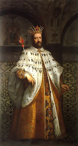 Cosimo I de' Medici, Grand Duke of Tuscany - Cosimo I de' Medici in coronation robes, with Grand-ducal regalia    By Cigoli.