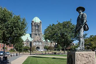 Taunton Green Historic District - County Courthouse and The Hiker statue