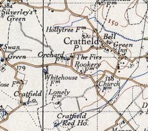 Cratfield - Image: Cratfield 20th century map