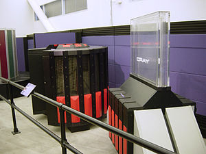 "Cray-2 - A Cray-2 and its Fluorinert-cooling ""waterfall"", formerly serial number 2101, the only 8-processor system ever made, for NERSC"