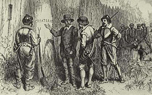 "Watts' West Indies and Virginia expedition - The discovery of the word ""Croatoan"" carved onto a stockade board"