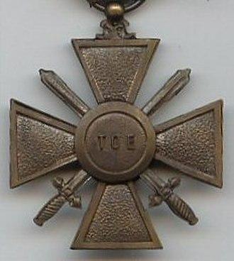Croix de guerre des théâtres d'opérations extérieures - Reverse of the War Cross for foreign operational theatres