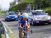 Damiano Cunego durante una cronometro del Giro d'Italia 2005, concluso al 18º posto