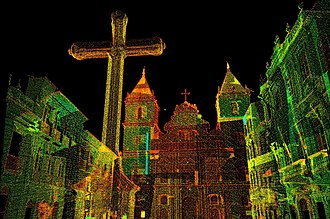 Historic Center (Salvador) - Perspective of the Cross and Church of São Francisco in Anchieta Plaza, Pelourinho, created from a Laser Scan preservationist project conducted by nonprofit CyArk.