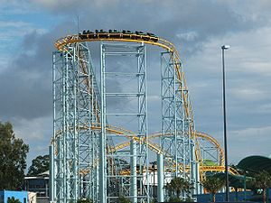 Dreamworld - The Cyclone (now Hot Wheels Sidewinder) roller coaster which was installed in 2001.