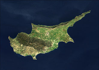 Military operations during the Turkish invasion of Cyprus - MODIS satellite image of Cyprus.
