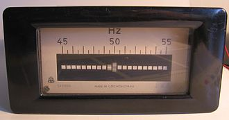 Reed receiver - A 50 Hz ±5 Hz vibrating-reed mains frequency meter for 220 V.