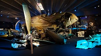 Catalina affair - DC-3 wreckage exhibited at the Swedish Air Force Museum.
