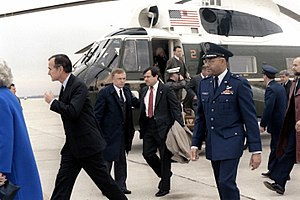 Iran–United States relations - Vice President George H. W. Bush and other VIPs wait to welcome the former hostages to Iran home