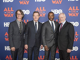 All the Way (film) - (L–R) Jay Roach, Bryan Cranston, Anthony Mackie and Robert Schenkkan at the All the Way premiere in Austin.