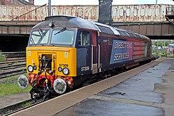 "DRS Class 57, 57309 ""Pride of Crewe"", Preston railway station (geograph 4499544).jpg"