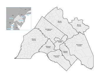 Delaware Valley Regional Planning Commission - Map of DVRPC Region.