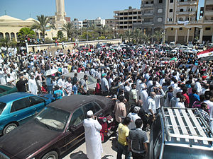 2013 Egyptian coup d'état - Supporters of the ousted President Morsi demonstrate in Damietta on 5 July 2013.