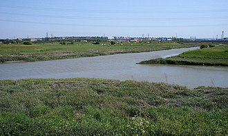 River Darent - Confluence of Darent (left) and Cray rivers, viewed from Crayford Marshes, towards Temple Hill.