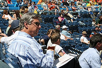 Dave Dombrowski - Dombrowski watches a West Michigan Whitecaps game at Fifth Third Ballpark, 2010
