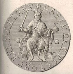 """Steel engraving and enhancement of the obverse side of the Great Seal of David I, portraying David in the """"European"""" fashion the other-worldly maintainer of peace and defender of jutice."""