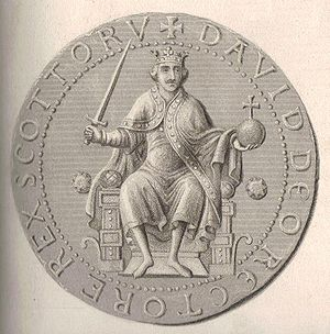 "Davidian Revolution - Steel engraving and enhancement of the obverse side of the Great Seal of David I, portraying David in the ""European"" fashion of the other worldly maintainer of peace and defender of justice."