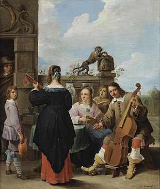 David Teniers the Younger - A family concert on the terrace of a country house: a self-portrait of the artist with his family, c. 1640–49, oil on canvas