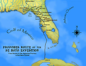 Timucua - A proposed route for the first leg of the de Soto Expedition, based on Charles M. Hudson map of 1997