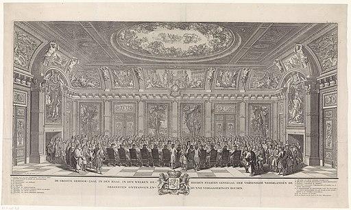 De opening van de nieuwe audiëntiezaal van de Staten-Generaal (Trêveszaal), 1697 De groote gehoor-zaal in Den Haag, in den welken de Heeren Staaten Generaal der Vereenigde Nederlanden de gesandten ontfangen, en hunne ve, RP-P-1998-608