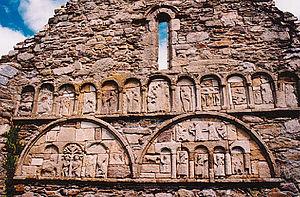 Declán of Ardmore - Carvings at Saint Declan's Church, Ardmore