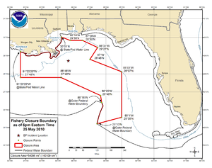 Fishery Closure Boundary as of 6pm Eastern Tim...