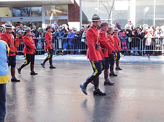 Royal Canadian Mounted Police - RCMP at Montreal St. Patrick's Day Parade 2017.