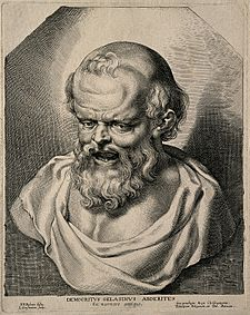 Democritus. Line engraving by L. Vorsterman after P. P. Rube Wellcome V0001526.jpg
