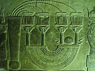 Menat - An elaborate menat necklace depicted in a relief at the Temple of Hathor at Dendera