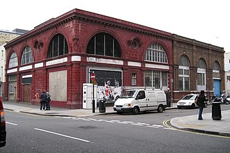 Euston tube station - The disused CCE&HR station building on the corner of Drummond Street and Melton Street
