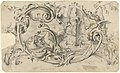 Design for a Tablet for a Chimney-Piece with Two Swans in Combat, Enclosed within a Scrolling Cartouche with a Water-Spouting Dragon's Head MET DP105206.jpg