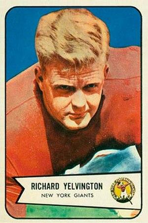 Dick Yelvington - Yelvington on a 1954 Bowman football card