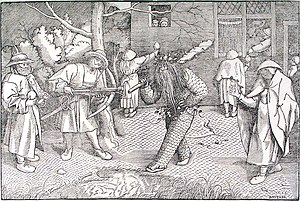 Valentine and Orson - Print after Pieter Bruegel the elder of a performance based on the romance