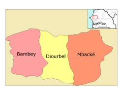 Diourbel région, divided into 3 départements
