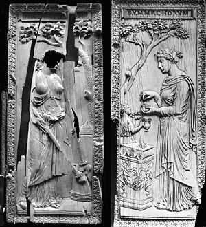 Quintus Aurelius Symmachus - Symmachi–Nicomachi diptych; the left leaf is at the Musée National du Moyen Âge, Paris, the right leaf is at the Victoria and Albert Museum in London. It is possible that this diptych, honouring the bond between the two aristocratic and pagan families of the Symmachi and Nicomachi, was issued in occasion of Memmius' marriage with a woman of the Nicomachi in 401.