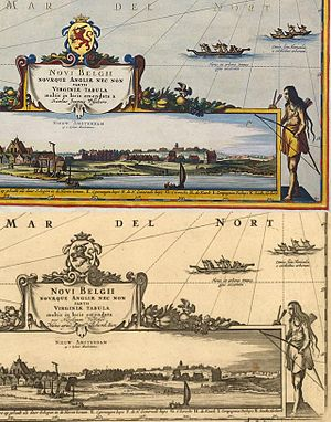 "Laurens van der Hem - Comparison of two versions of the map of New England titled ""Novi Belgii""  from the Atlas Maior. The top version was hand colored by Dirk Janszoon van Santen for Laurens van der Hem's personal copy; the lower version shows how it appeared in the version printed for publication by Joan Blaeu."