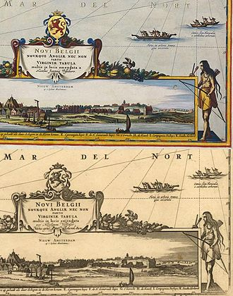 """Laurens van der Hem - Comparison of two versions of the map of New England titled """"Novi Belgii""""  from the Atlas Maior. The top version was hand colored by Dirk Janszoon van Santen for Laurens van der Hem's personal copy; the lower version shows how it appeared in the version printed for publication by Joan Blaeu."""