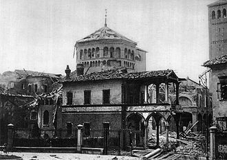 Basilica of Sant'Ambrogio - The church after the 1943 Anglo-American bombings.