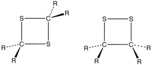 Dithietane - Structure of a 1,2-dithietane and 1,3-dithietane, where R is an organic group