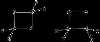 Dithietane - Structure of a 1,2-dithietane and 1,3-dithietane, where R is an organic group