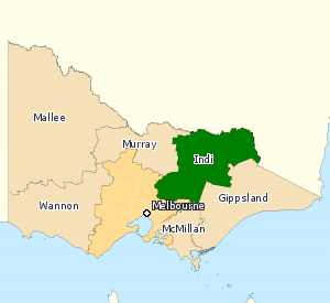 Division of Indi - Division of Indi in Victoria, as of the 2016 federal election.