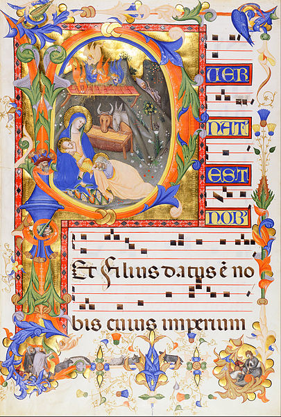 File:Don Silvestro dei Gherarducci - Nativity, in an initial P - Google Art Project.jpg