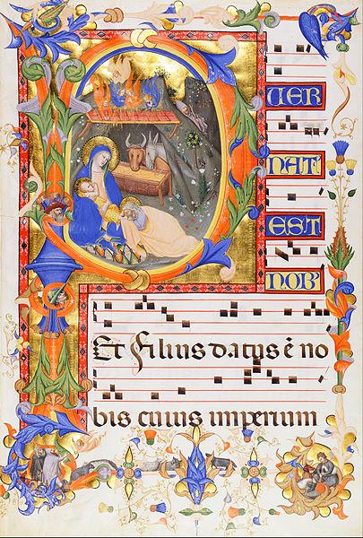 File:Don Silvestro dei Gherarducci - Nativity, in an initial P - Google Art Project.jpg