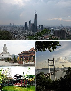 From top left, clockwise: Guanyin mountain, Humen Bridge, Keyuan, Dongguan Avenue