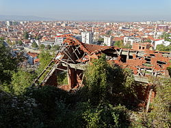 Downtown Vista with Ruins of Serb House Destroyed in 2004 Pogrom - Prizren - Kosovo