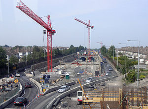 National Development Plan - Traffic at the construction site of the Dublin Port Tunnel on the N1/M1.