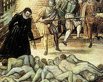 Margaret of Valois - St. Bartholomew's Day massacre. Catherine de' Medici emerging from the Louvre castle to inspect a heap of bodies in a painting by François Dubois, a Huguenot painter.