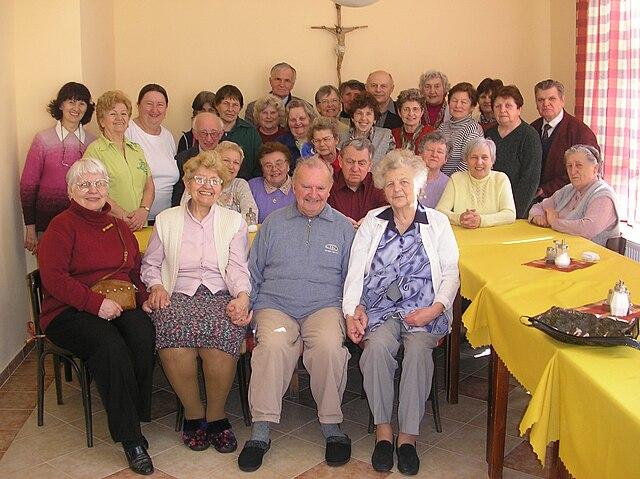 group of seniors gathered