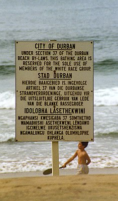 Sign in Durban that states the beach is for whites only under South African apartheid laws. (1989)