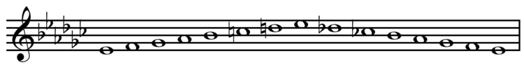 E-flat melodic minor scale ascending and descending.png